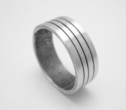Custom fingerprint wedding band with modern lines