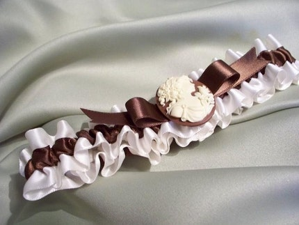 Romantic Brown Ivory Vintage Inspired Cameo Bridal Garter Set