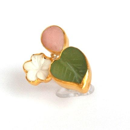 Spring Flower 3 Stone Ring