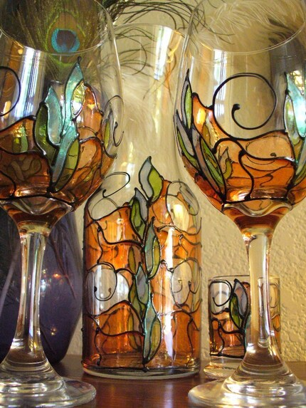 Tangy Spike - Caraffe and Set of 2 wine glasses with bonus Tea Light Candle Holder