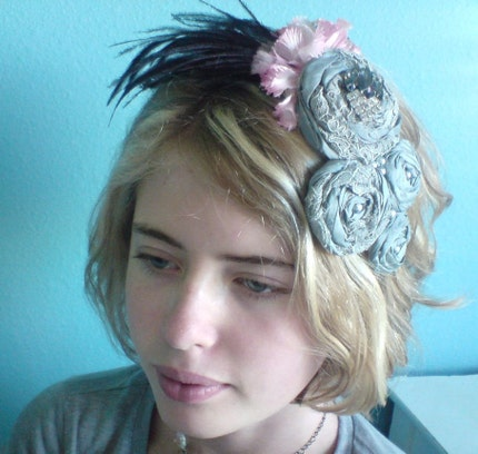 Drama and Lace (( hair fascinator )) vintage lace, millinery flower, feathers - LAST ONE