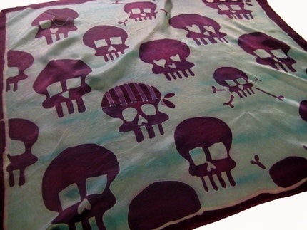 hand painted silk skull scarf - large square - purple and aqua
