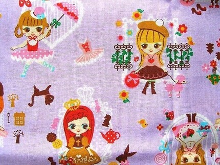 Cute Japanese Cotton Fabric - Cute Girls in Paris France - Half Yard (F416)
