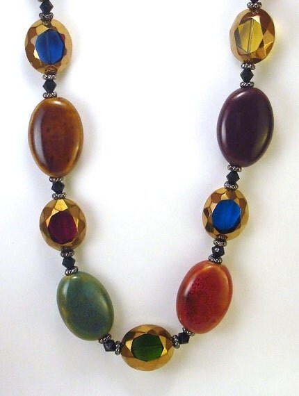 Fall Inspired Glass Bead Necklace and Earring Set....FREE SHIPPING