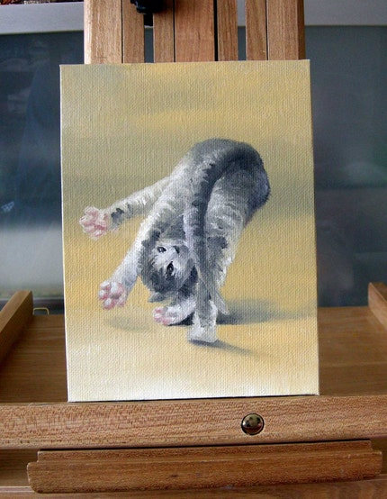 playing kitty Original ACEO oil painting