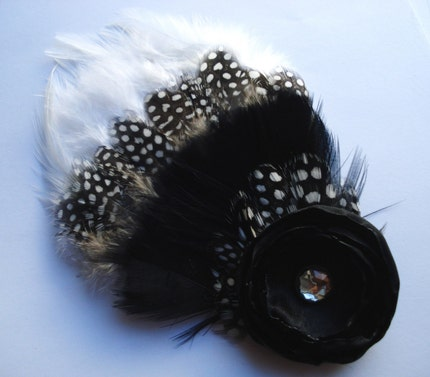 Chic Black and White Feather Hair Clip