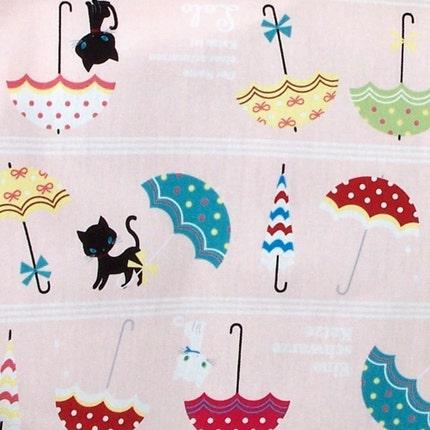 NEW Japanese Fabric - Der Name einer schwarzen Katze ist Lolo in pink- 1/2 yard