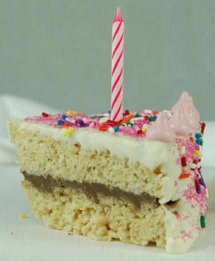 6 Rice Krispie Birthday Cake Slice