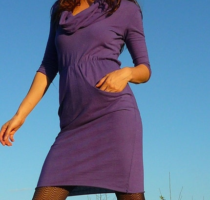 Pretty Birdie's Cowl Neck Jersey Dress  (Hemp and Organic Cotton Jersey)