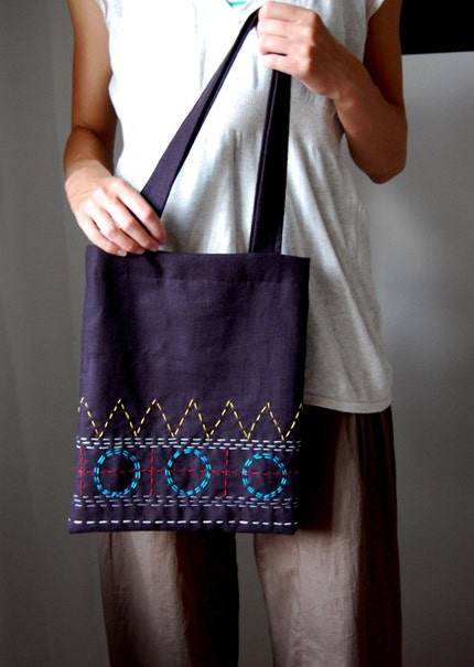 Blue Circles / Embroidered Bag