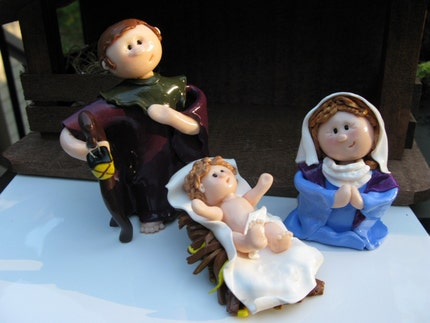 3 Piece Nativity - Mary, Joseph, Baby Jesus - FREE SHIPPING