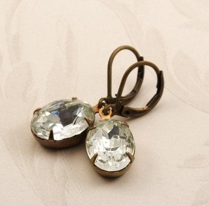 Vintage Glass Jewel Earrings - Clear