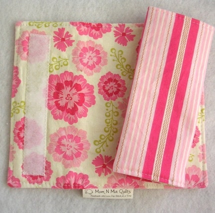 Reversible Car Seat Strap Covers - Sweet Pink Floral and Stripe