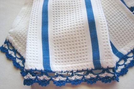 KITCHEN TOWELS(2 ea) CROCHET EDGED, NEW,DENIM  BLUE,TURKISHTEAM