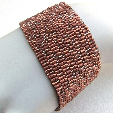 Copper Indulgence Peyote Cuff Bracelet  (2430)