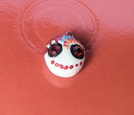 mexican day of dead tattoos. Red Day of the Dead charm by