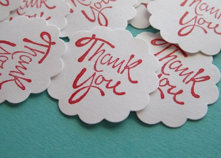 12 Round Scallop Edge Red THANK YOU Stickers
