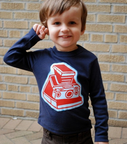 SX70 Camera Applique Long Sleeve Shirt for Kids