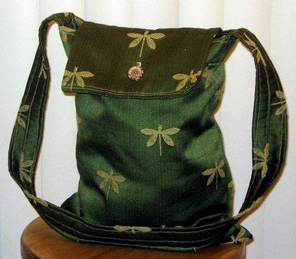 Green and Gold Dragonfly Hip Bag with Vintage Button Enclosure