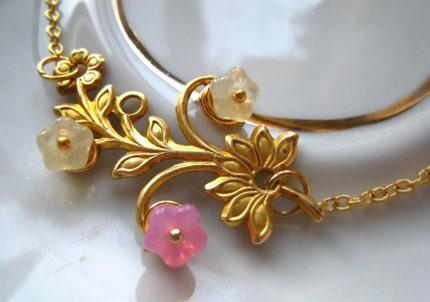 Cherry Blossom Golden Brass Bracelet by dreamyvintage on Etsy from etsy.com