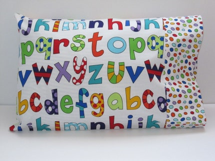 NEW Lively Letters-Travel or Toddler Pillow Case, READY TO SHIP