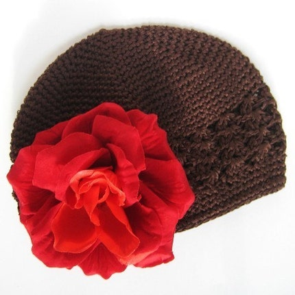 PRE SALE - Hazel - Brown Crochet Hat with a Red Rose