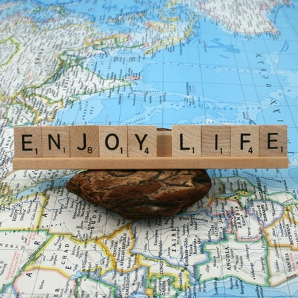 ENJOY LIFE Scrabble Letters Sign RECYCLED