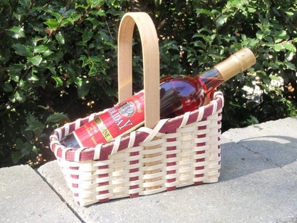Horizontal Wine Basket - Natural/Maroon