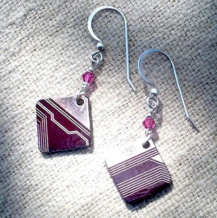 Little Red Circuit Board Earrings