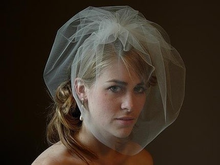 Tulle Full Blusher Birdcage Veil On Comb - Available In Many Colors
