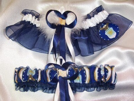 AIR FORCE Inspired Wedding Garter Set with Marabou Pouf w FREE GIFT