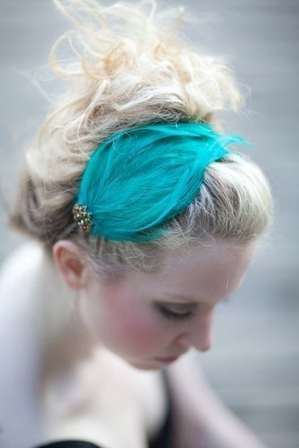 ISADORA - Handmade Aqua Green Feather Headband, Hairpiece, with Vintage Jewelry Accent - One of a Kind