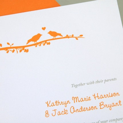 Lovebirds Wedding Invitation Sample