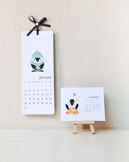 Printable 2010 Penguin Wall Calendar (PDF) with BONUS desktop version