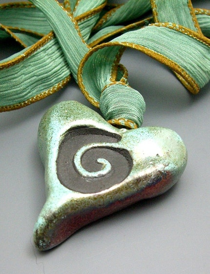 Aqua Raku Heart Swirl Pendant Raku Ceramic Jewelry by MAKUstudio