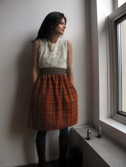 orange plaid skirt