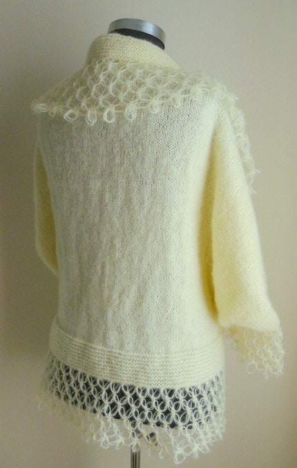 CREAM MOHAIR WARM CARDIGAN  LIMITED EDITION