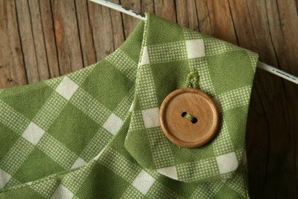 Green checker A-line dress/jumper - lg