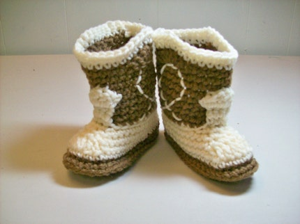Cowboy Booties - Medium Brown and Ivory  -  3 to 6 months