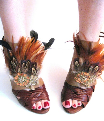 Brown Feather Leather Spats with lace up detail by joiacouture