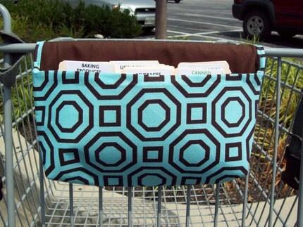 Fabric coupon organizer Teal Geometric Octagons