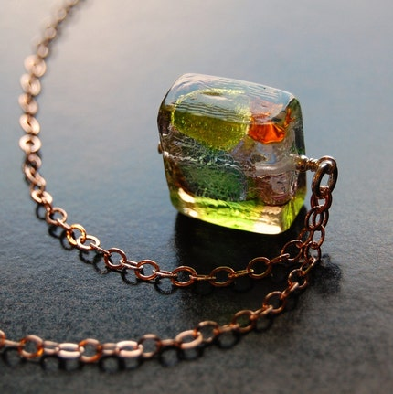 Multicolored Authentic Venetian square glass by southpawstudios from etsy.com