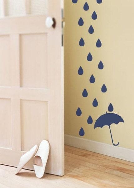 Rain Drops and Umbrella Vinyl Decal Wall Sticker Mural Art Cascading