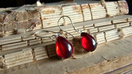 Edward's Kiss Earrings  - Vampire Blood Red Jewel, Sterling Earwire Dangles
