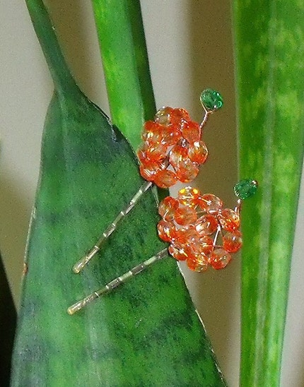 Orange Variegated Pumpkin hairpins- set of 2 FREE SHIPPING