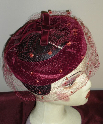 Vintage Womans Red Velvet Hat 1940s