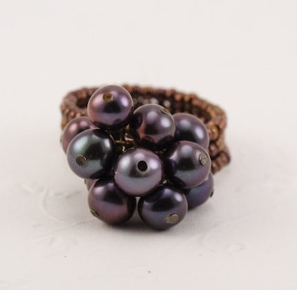 Purple Power Pearl Posy Ring