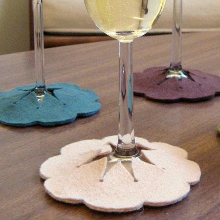 Hibiscus Slip-on Coasters - set of 4