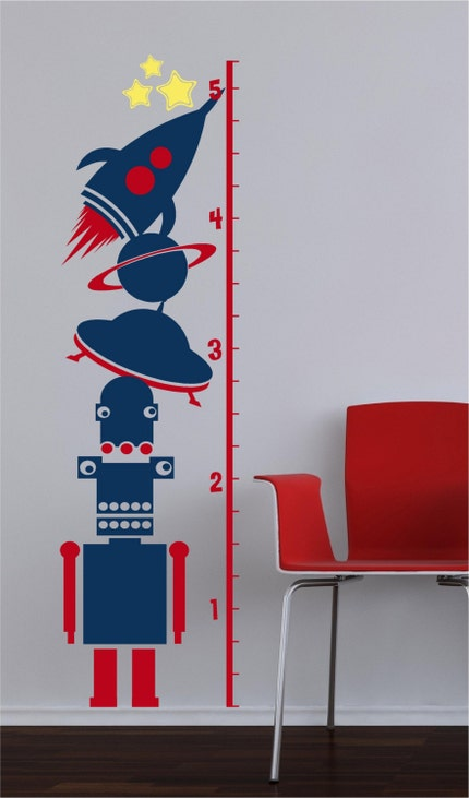 62.5x17  Growth Chart Space Ship Alien Start Outer Space soar Moon Vinyl Decor  Wall Lettering Words Quotes Decals Art Custom Willow Creek Signs
