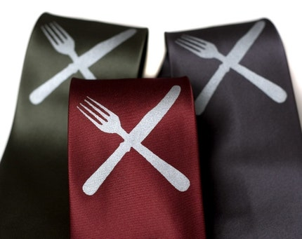 Eat Me.  Knife and fork silkscreened microfiber necktie.